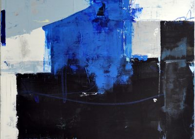 Building Momentum by Julie Weaverling. 40x30. mixed media. Sold.