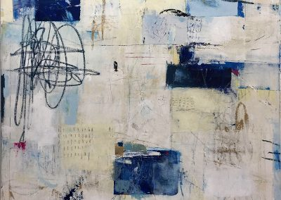 One Block to the Pacific by Julie Weaverling. 36x36. mixed media. Sold.