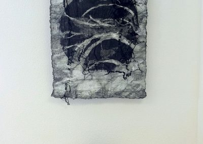 Soul Finding, by Julie Weaverling, joomchi, shoes, encaustic, 36 x 24